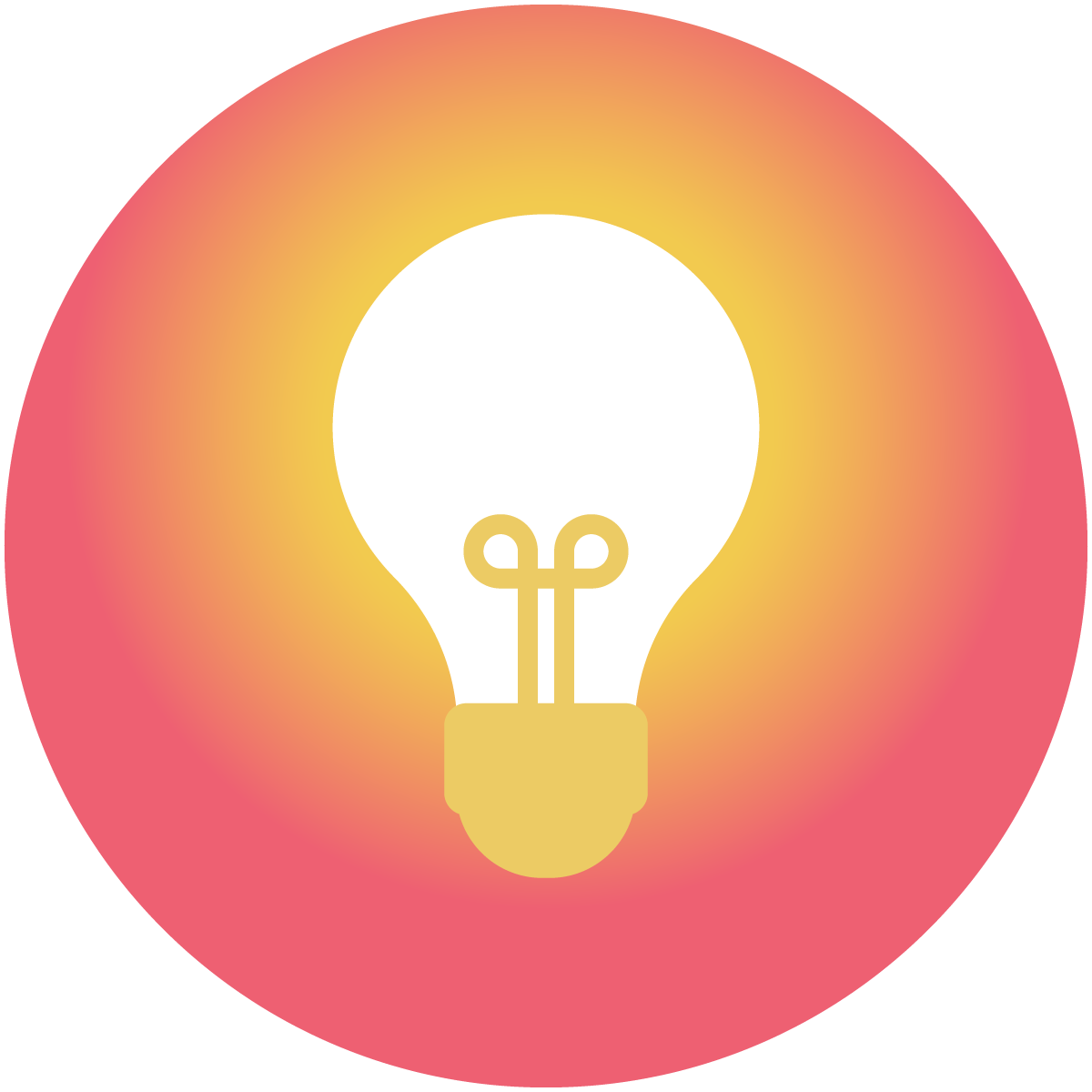 A light bulb symbol on top of a warm orange circle shows how the chatbot learns by listening to questions from users.