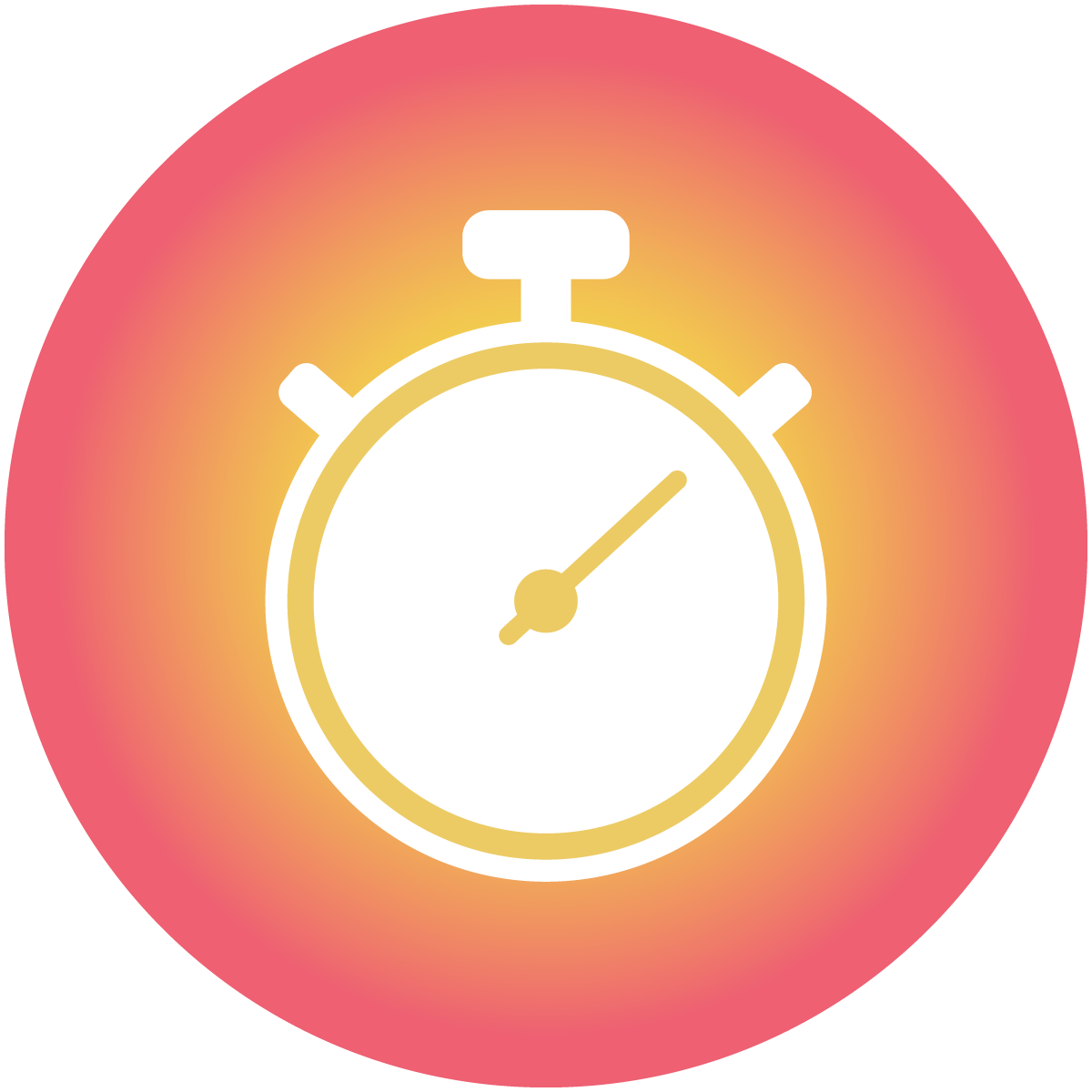 A stopwatch symbol on top of a warm orange circle shows how the COVID-19 vaccine chatbot responds to user questions instantly.